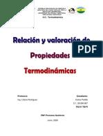 Relación y valoración de propiedades termodinámicas