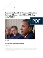 Remarks by President Obama and President Sarkozy of France After Bilateral Meeting (With VIDEO)