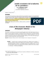 la crisis del modelo económico de la industria de los periódicos