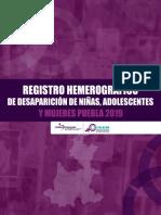 REGISTRO HEMEROGRÁFICO DE DESAPARICIÓN DE NIÑAS, ADOLESCENTES Y MUJERES PUEBLA 2019