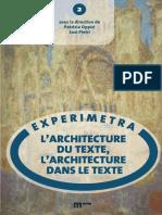 (Experimetra, 2) Patrizia Oppici, Susi Pietri - L'architecture du texte, l'architecture dans le texte-eum edizioni università di macerata (2018)