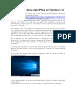 Asignar una dirección IP fija en Windows 10