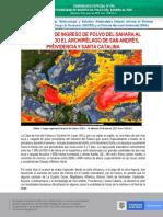 COMUNICADO ESPECIAL N°030 POSIBILIDAD DE INGRESO DE POLVO DEL SAHARA AL PAÍS