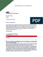 Nuevas perspectivas metodológicas para la investigación en comunicación