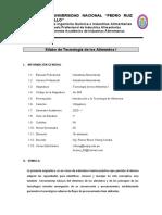 SILABO TECNOLOGÍA DE ALIMENTOS I