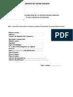 formulaire et dossier d'importation des produits phytosanitaires