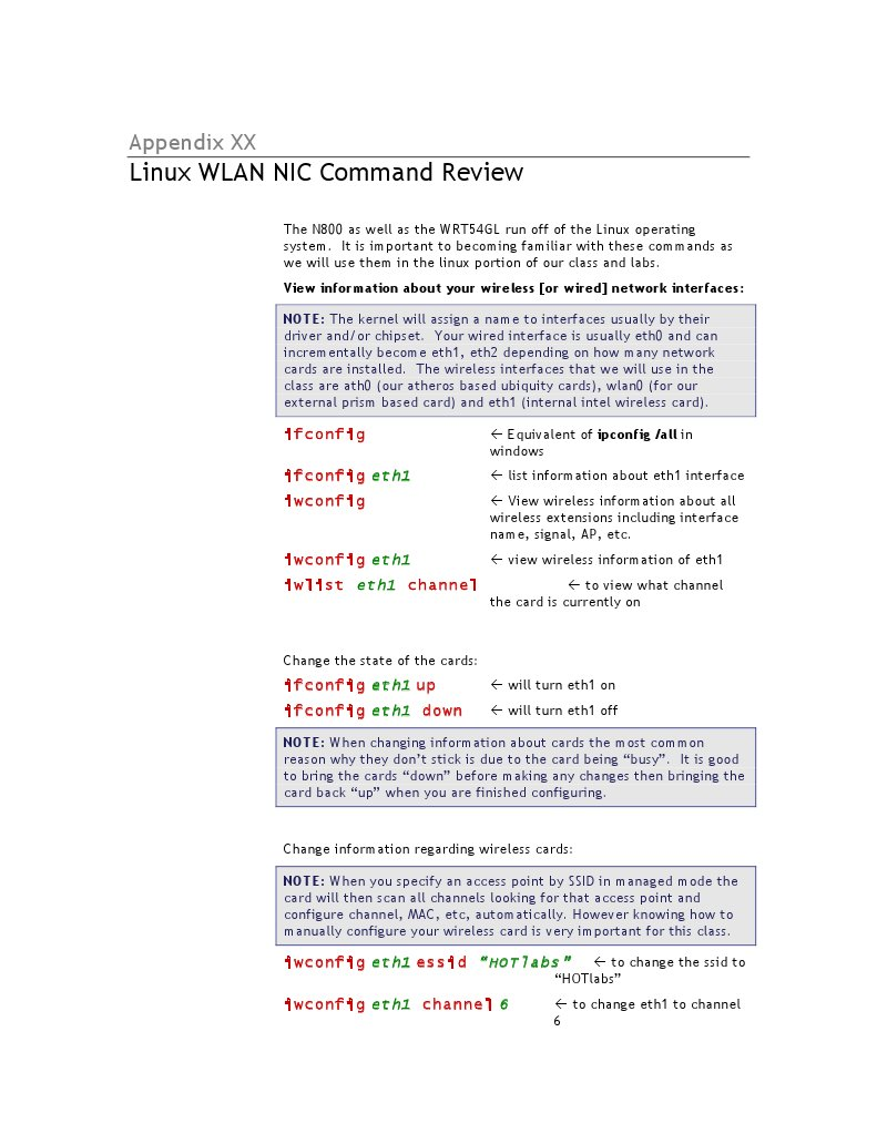 Appendix Linux WLAN NIC Command Review   Wireless Lan