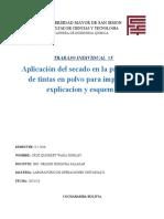 APLICACION DEL SECADOEN LA PRODUCCION DE TINTAS EN POLVO PARA IMPRESORAS EXPLICACION