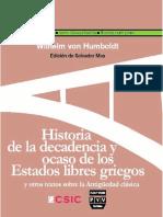 Humboldt, W. Historia de La Decadencia y Ocaso de Los Estados Libres Griegos. 2010