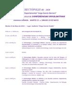 INSECTOPOLIS III - 2018 - PROGRAMACIÓN DEL CICLO DE CONFERENCIAS DIVULGATIVAS DEL EVENTO -