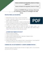 Plan de choque contra el COVID DOCENTES Y ADMINISTRATIVOS