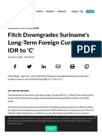 Fitch Downgrades Suriname's Long-Term Foreign Currency IDR to 'C'