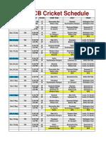 2020 T20 Schedule by Field 2 July 2020