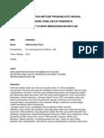 Implementasi Metode Pnn Untuk Penyakit Syaraf