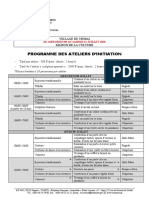 Programme Ateliers Semaine 1