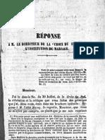 Edmond de Chazal REPONSE a M Le Directeur de La Croix Du Sud Sur L'INSTITUTION DU MARIAGE St Antoine Ile Maurice 1859