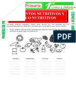 Alimentos Nutritivos y No Nutritivos Para Primero de Primaria