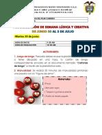 PROGRAMACIÓN DE SEMANA LÚDICA Y RECREATIVA DE JUNIO 30 AL 3 DE JULIO