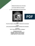 EVALUACION DE PROGRAMAS Y PROYECTOS SOCIALES