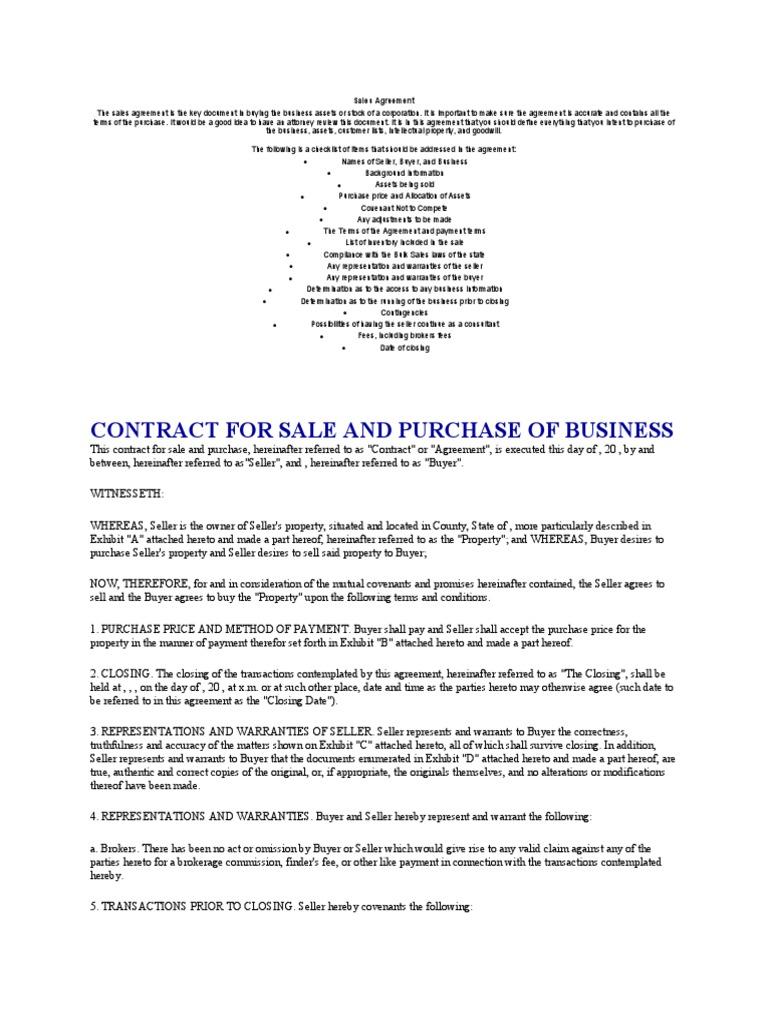 Sales Agreement Sales Lease