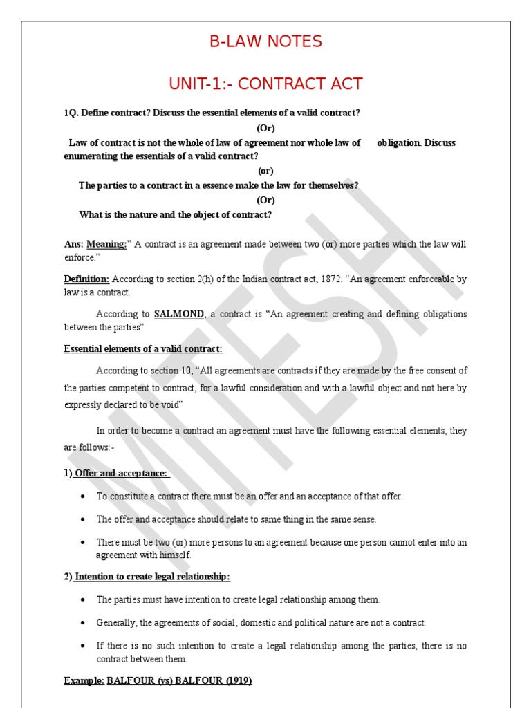 B.LAW UNIT   I | Offer And Acceptance | Consideration