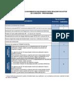 Listado documentos necesarios provisional