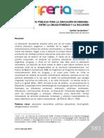 Poliìticas puìblicas para la educacioìn secundaria entre la obligatoriedad y la inclusioìn