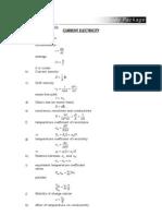 Current electricity formula sheet