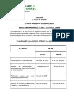 Oferta cursos intensivos 2020 - 1 para pregrados regionalizados de la Seccional Urabá