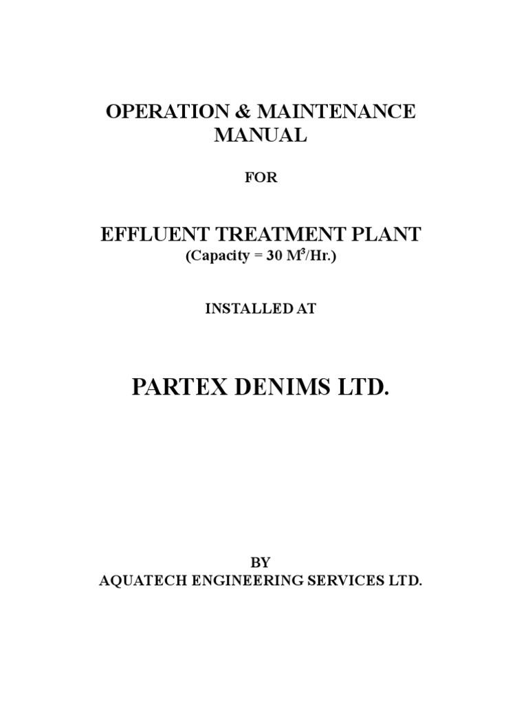 etp manual std denim sewage treatment wastewater rh scribd com Building Operations Manual Template Water Operations Manual