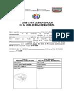 CONSTANCIA DE PROSECUCIÓN  DEL NIVEL DE EDUCACIÓN PREESCOLAR