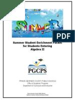 Algebra 2 Summer Student Enrichment Packet