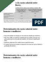 Determinantes da razão salarial entre homens e mulheres