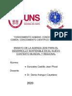 ENSAYO DE LA AGENDA 2030 PARA EL DESARROLLO SOSTENIBLE EN EL NUEVO CONTEXTO MUNDIAL Y REGIONAL