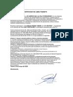 (FORMATO) CERTIFICADO CIRCULACION EMPRESAS PROVEEDORAS (AMBITO LOCAL)