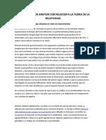 EXPERIMENTOS DE EINSTEIN CON RELACION A LA TEORIA DE LA RELATIVIDAD