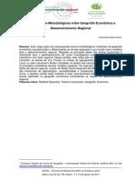 Notas teóricas sobre geografia econômica e desenvolvimento regional