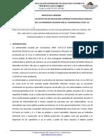 Protocolo de Atención Ante La Aparición de Casos Del COVID-19 y Acccion de Difusion