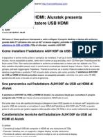 Adattatore USB HDMI_ Aluratek presenta AUH100F, l'adattatore USB HDMI