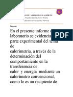 INFORME NO2 DE FISICOQUIMICA LAB (CALORIMETRIA)
