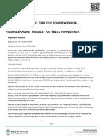 Disposicion 569-2020 CTTD Domestico MTySS- Acuerdo Espontaneo