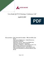 20194Q Axis Bank Call Transcript