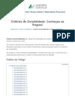 Critérios de Divisibilidade_ Conheças as Regras! - Matemática Básica