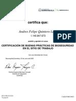 Certificado Icontec Andres Quintero