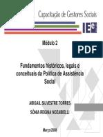 PWP. Fundamentos históricos, legais e conceituais da política de Assitência Social (Abigail Silve