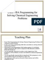 Excel VBA Programming for Solving Chemical Engineering Problems