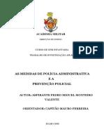 as medidas de policia administrativa e a prevencao policial