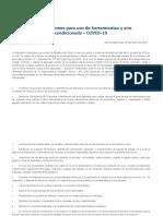 Recomendaciones para uso de herramientas y aire acondicionado