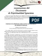 Presentazione del Diccionario de Espiritualidad Ignaciana