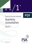 UK FSA Quarterly Consultation Paper No. 27